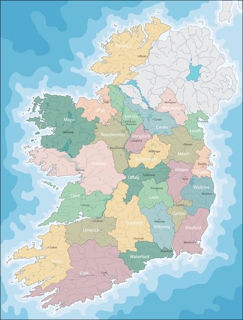 Mapa, de, irlanda Vetor Premium