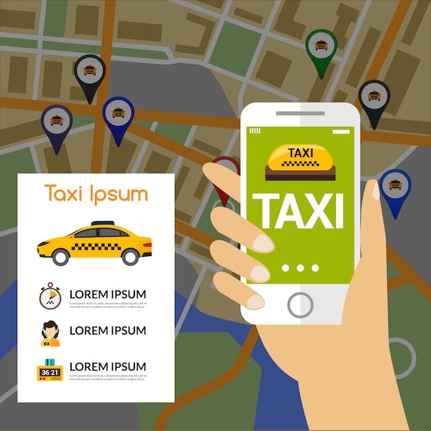 Mapa de navegação de táxi Vetor grátis