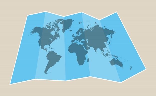 Mapa de papel do mundo Vetor Premium