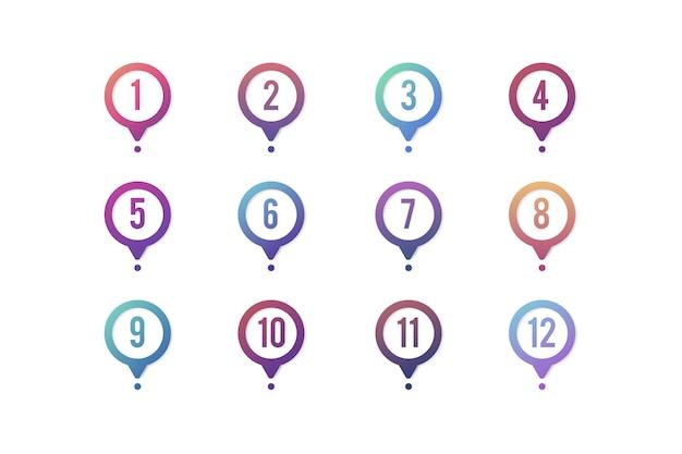 Mapa de pinos de gradiente com números Vetor grátis