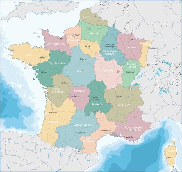 Mapa, de, república francesa Vetor Premium