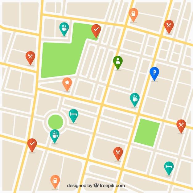 Mapa de ruas com design de pinos Vetor grátis