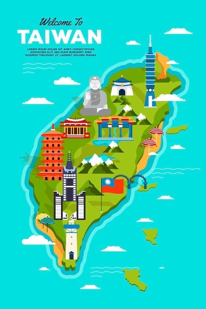 Mapa de taiwan colorido com marcos Vetor grátis