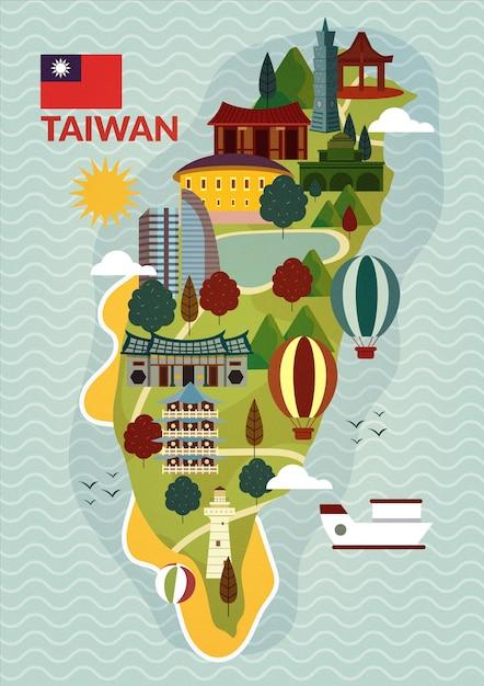 Mapa de taiwan com marcos Vetor grátis