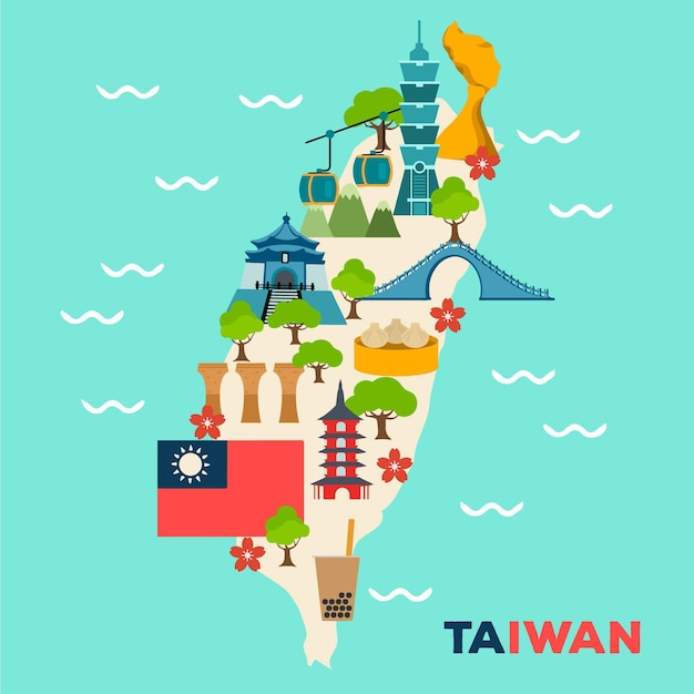 Mapa de taiwan com pontos de referência Vetor grátis
