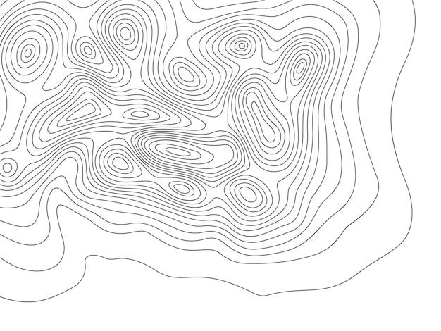 Mapa de topografia. linhas de contorno de montanhas de cartografia, mapas de elevação e topologia de linhas de contorno da terra Vetor Premium