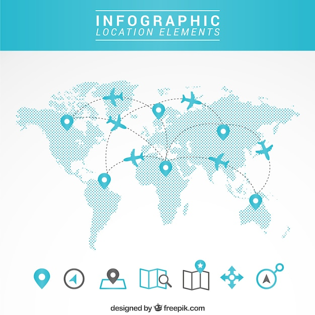 Mapa de viagem infográfico Vetor grátis