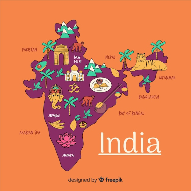 Mapa desenhado de mão da índia Vetor grátis