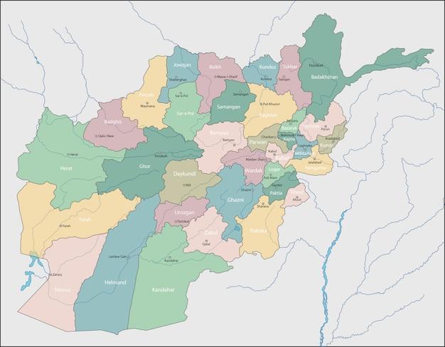 Mapa do afeganistão Vetor Premium