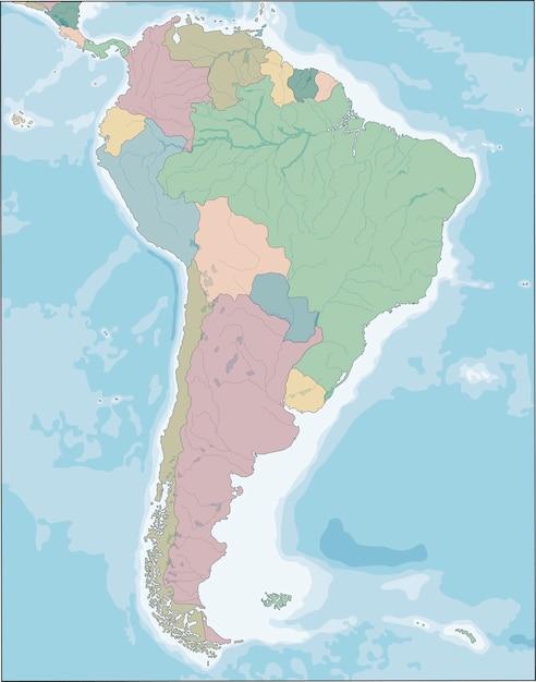 Mapa do continente da américa do sul com países Vetor Premium