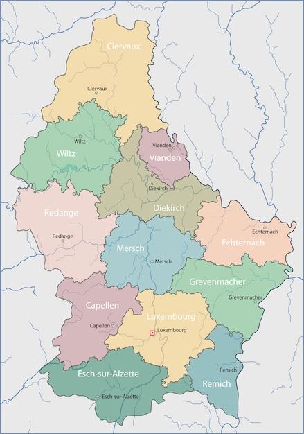 Mapa Do Luxemburgo Vetor Premium