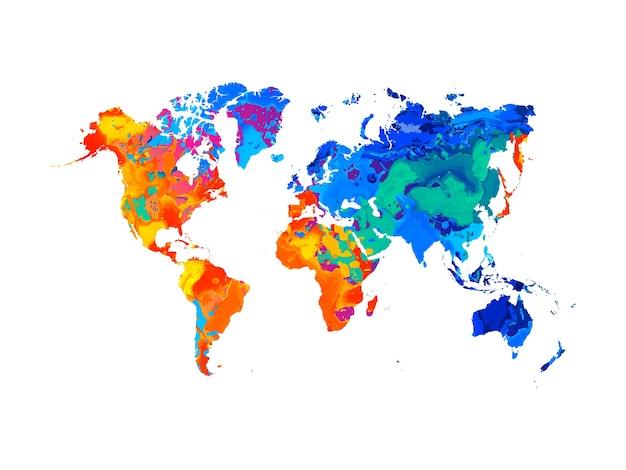 Mapa do mundo abstrato do respingo de aquarelas. ilustração de tintas Vetor Premium