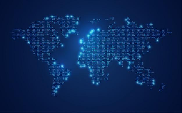 Mapa do mundo binário Vetor Premium