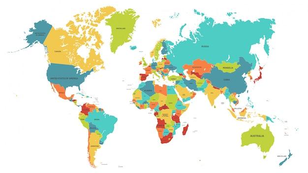 Mapa do mundo colorido. mapas políticos, países do mundo colorido e ilustração de nomes de países Vetor Premium