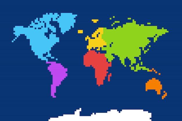 Mapa do mundo colorido Vetor Premium