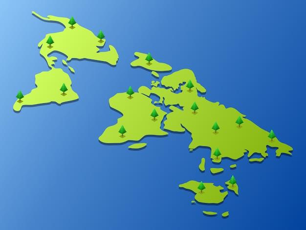 Mapa do mundo com algumas árvores nele Vetor Premium
