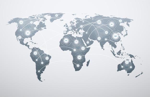 Mapa do mundo com conexões globais. Vetor Premium