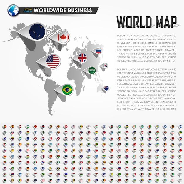 Mapa do mundo de perspectiva e pino de localização do navegador gps Vetor Premium