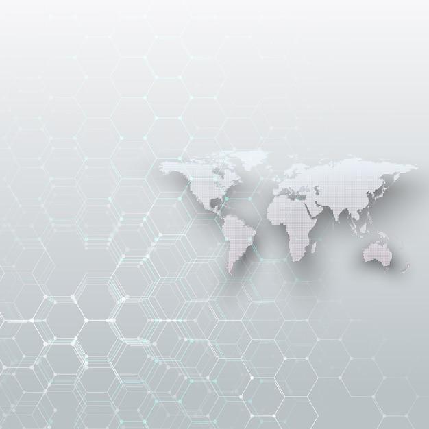 Mapa do mundo pontilhado branco, conectando linhas e pontos no fundo de cor cinza Vetor Premium