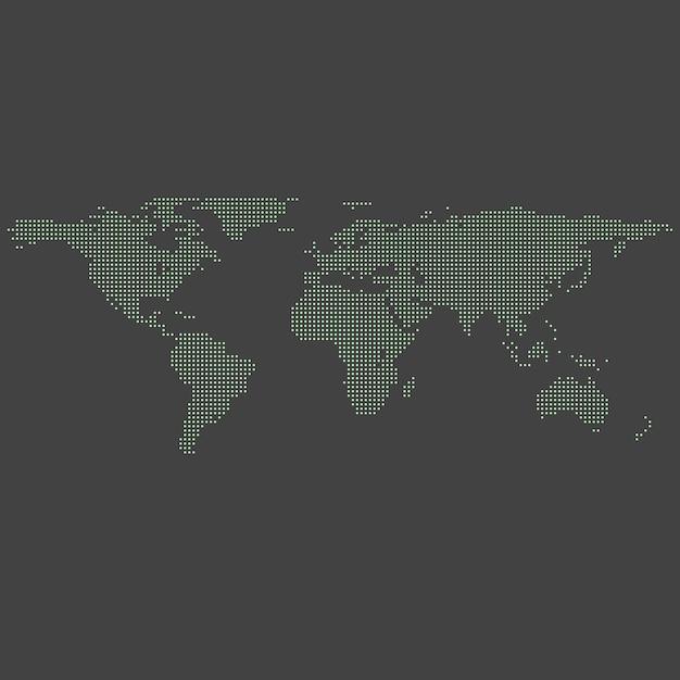 Mapa do mundo pontilhado verde vetor em cinza Vetor Premium