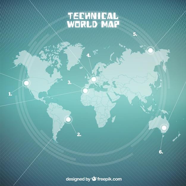 Mapa do mundo técnica seagreen Vetor grátis