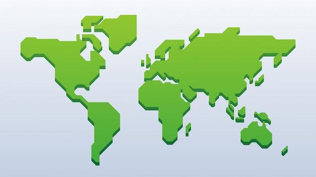 Mapa do mundo verde 3d Vetor Premium