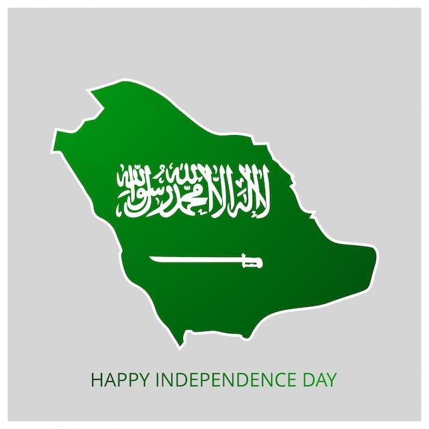 Mapa do país da arábia saudita com dia da independência feliz mapa do país Vetor grátis