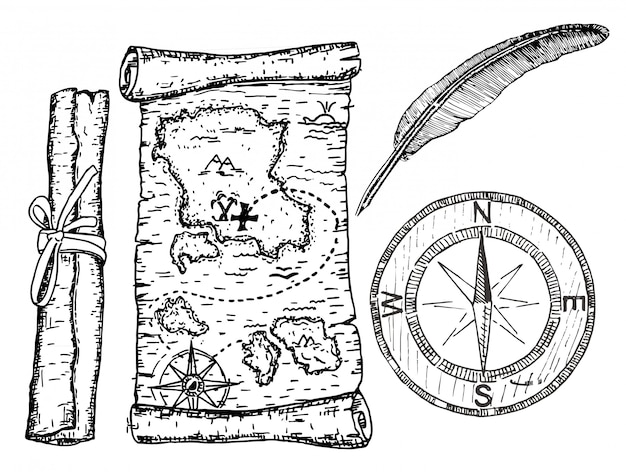 Mapa do tesouro, bússola e pena. ilustração de um conceito de mapa de pirata. Vetor Premium