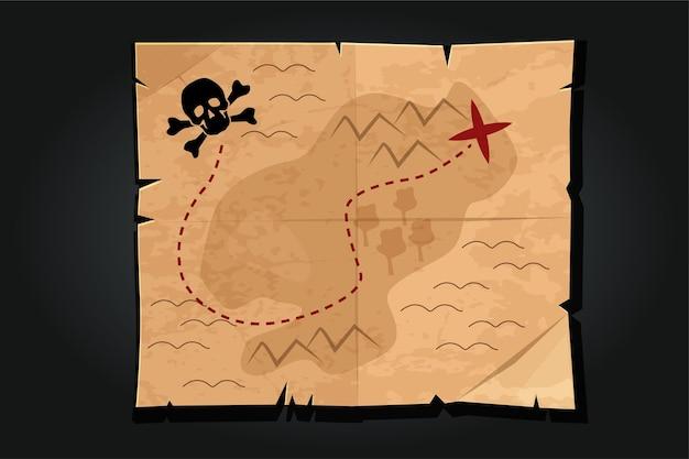 Mapa do tesouro de papel do vintage dos desenhos animados de pirata com uma caveira. caminho ou estrada para encontrar o tesouro pirata. Vetor Premium