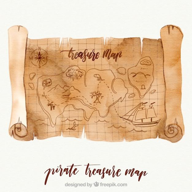 Mapa do tesouro do pirata da aguarela Vetor Premium
