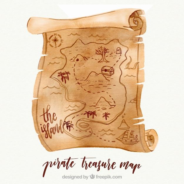 Mapa do tesouro do pirata no estilo da aguarela Vetor grátis