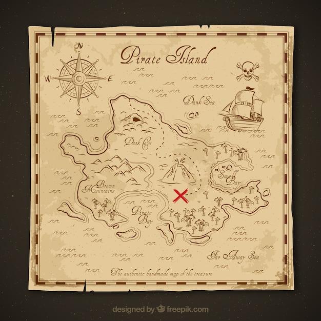 Mapa do tesouro do vintage Vetor grátis