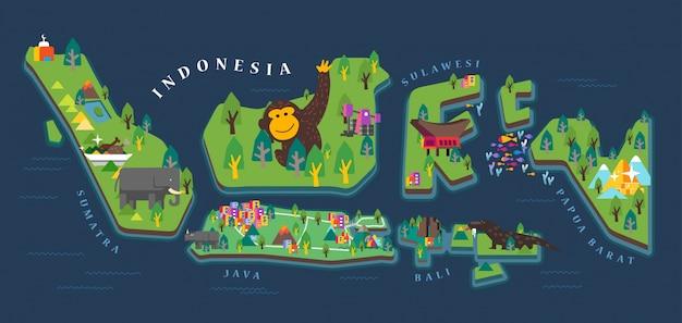 Mapa do turismo da indonésia Vetor Premium