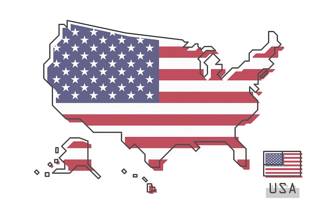 Mapa dos estados unidos da américa e bandeira Vetor Premium