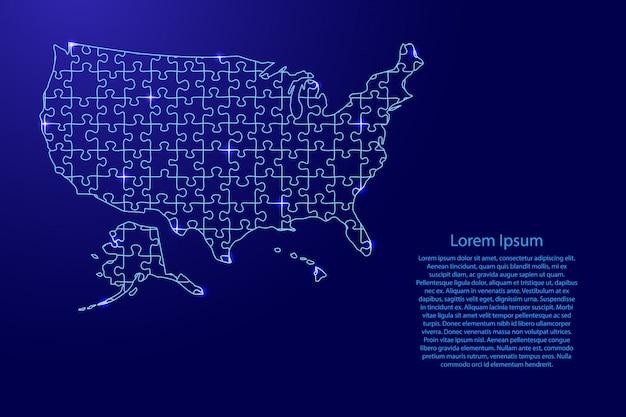 Mapa dos estados unidos da américa, eua do padrão azul composto de quebra-cabeças e estrelas brilhantes do espaço. Vetor Premium