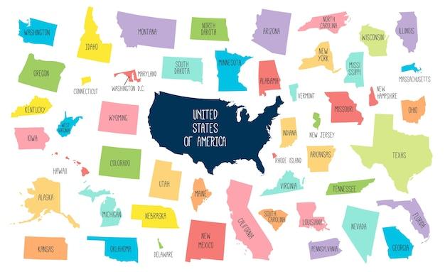 Mapa dos eua com estados separados. Vetor Premium