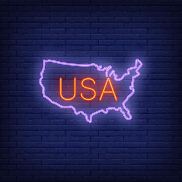 Mapa dos eua no fundo do tijolo. ilustração de estilo de néon. bandeira dos eua. Vetor grátis