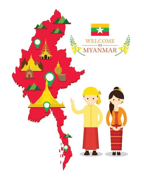 Mapa e pontos de referência de mianmar com pessoas em roupas tradicionais Vetor Premium