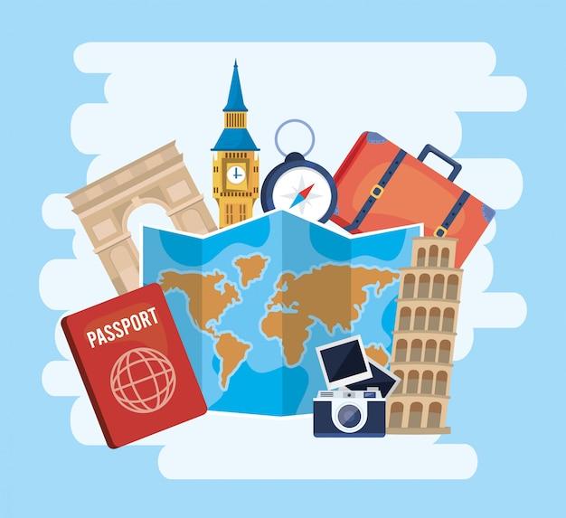 Mapa global para o destino com passaporte e câmera com fotos Vetor Premium