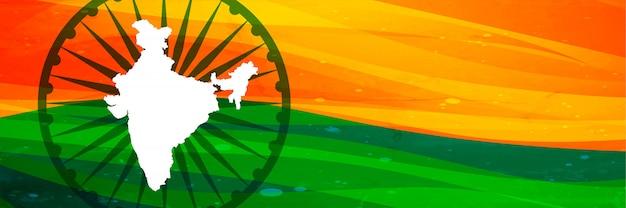 Mapa indiano e bandeira banner design com espaço de texto Vetor grátis