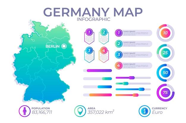 Mapa infográfico de gradiente da alemanha Vetor Premium