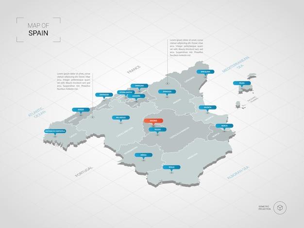 Mapa isométrico da espanha. ilustração de mapa estilizado com cidades, fronteiras, capitais, divisões administrativas e marcas indicadoras; fundo gradiente com grade. Vetor Premium