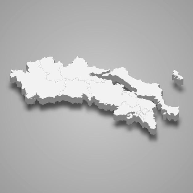 Mapa isométrico da grécia central é uma região da grécia Vetor Premium