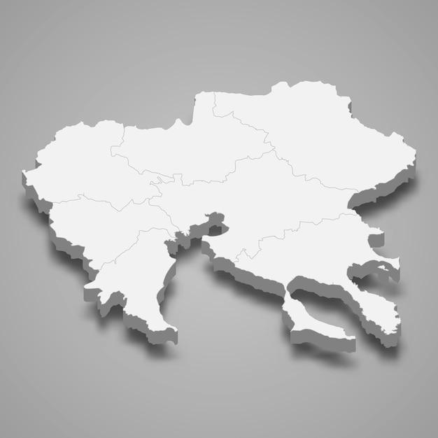 Mapa isométrico da macedônia central é uma região da grécia Vetor Premium