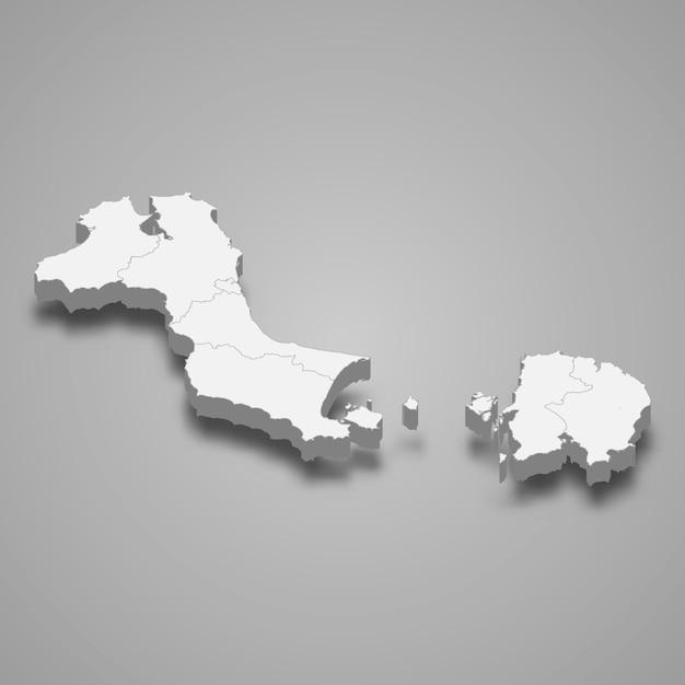 Mapa isométrico das ilhas bangka belitung é uma província da indonésia Vetor Premium