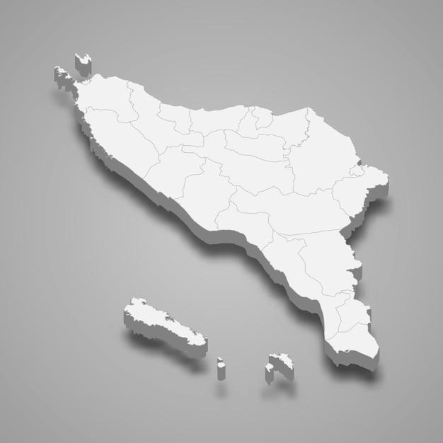 Mapa isométrico de aceh é uma província da indonésia Vetor Premium