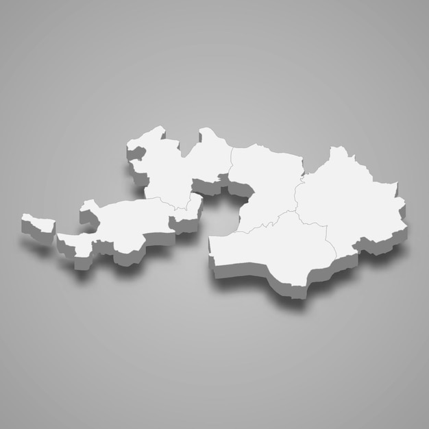 Mapa isométrico de basel landschaft é um cantão da suíça Vetor Premium