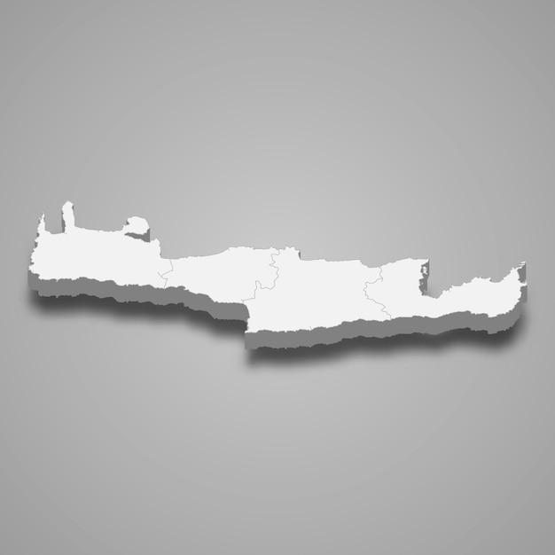 Mapa isométrico de creta é uma região da grécia Vetor Premium