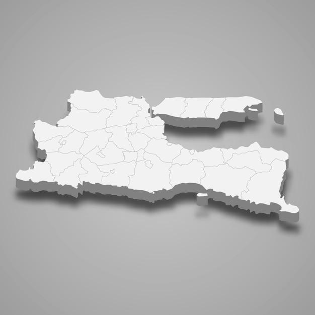 Mapa isométrico de east java é uma província da indonésia Vetor Premium