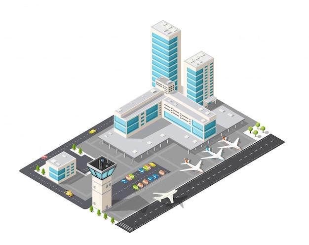 Mapa isométrico do aeroporto da cidade, as árvores e o vôo da construção Vetor Premium